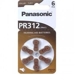 Panasonic PR 312 Pilas para audífonos Zinc Air 6