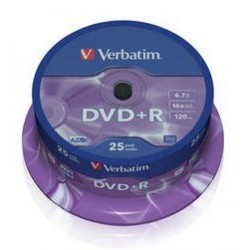 Tarrina DVD+R Verbatim 25 unidades 4.7Gb 16x