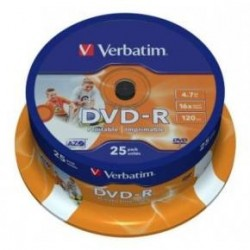 dvd verbatim printable tarrina 25 ud. ( +R,-R )