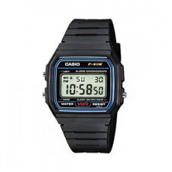 Reloj digital Casio original f91w retro unisex Negro