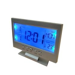 "8082 5,4"" LED luminosa voz de Control luz de fondo escritorio reloj - negro (2 x AAA)"
