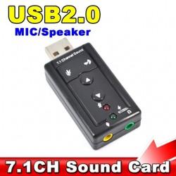Mini 7.1 CH Canal Mic Altavoz de la Tarjeta de Sonido 3D Adaptador
